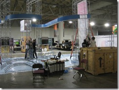 Setting Up in the Exhibition Hall