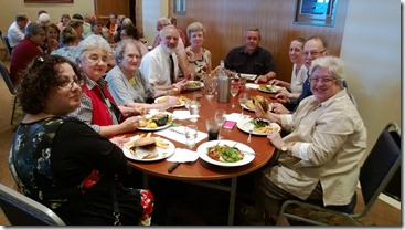 Our table, with Jill Ball and her husband Robert on the right, Paul Milner and his wife Carol 4th and 5th from left who will be speakers on our cruise, along with others from Hornsby who will not be cruising.