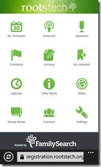 The RootsTech App Main Screen