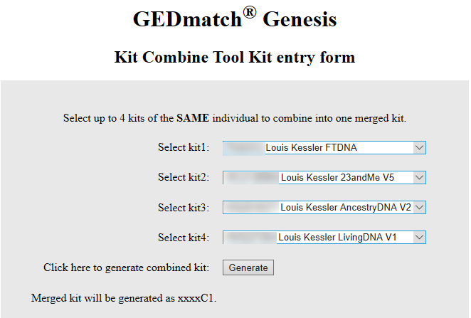 Combine Kits into One Superkit on GEDmatch Genesis « Louis